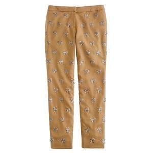 J. Crew Collection Khaki Sequin Bow Wool Pants